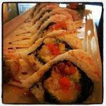 Tempura shrimp, seaweed salad, smoked salmon, crawfish, asparagus, cucumber, and avocado
