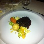 Braised shoulder of venison with parsnip