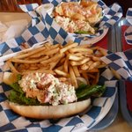 Lobster roll w/fries & Nachos (behind)