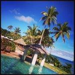 Mana Island, by the pool