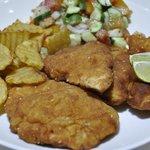 Chicken Schnitzel, Small Salad & Small Fried Potato $4.25