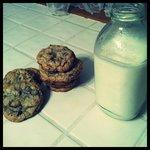 Salted chocolate chunk cookies and milk