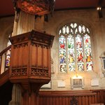 St Marys Church' pulpit and stain glass