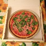 gluten free proscuitto & basil pizza to go