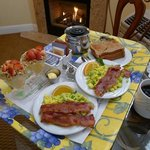 a wonderful breakfast by the fire in our room.