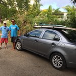 Reviewer, Ron Davis and Rincon Surf instructor heading out to Dogmans' beach