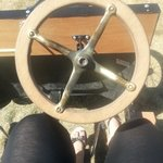 Driving the vintage peddle car