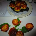bacon wrapped scallops and escargot