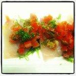 kingfish sashimi w tomato & caper salsa