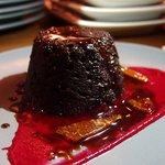 Chocolate cake with a beet sauce