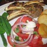 Lamb rack, Caprese salad, roast potatoes, veggies  - delicious