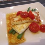 Local Halloumi cheese grilled with cherry tomatoes and asparagus