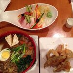 Beef soba, chirashi snd tempura.