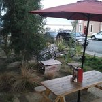 Great outdoor seating near the bay
