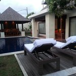 View of villa's pool. Only 2 loungers are available.