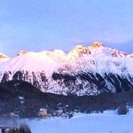 Golden evening light on the Swiss Alps, St. Moritz