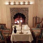 Cena al lado de la chimenea