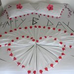 Decorated Birthday Bed.