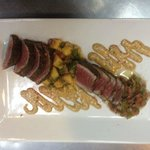 Pepper Crusted Tuna Served with 2 Way Salsa (Mango Salsa & Pico de Gallo) with Parmesan Cilant