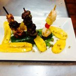 Kabob Grilled Trio, Chicken, Sweet Plantain and Chorizo