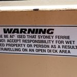 Sign on boat to Manly