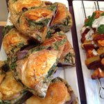 Goat's cheese, sweet potato, beetrot and spinach frittata