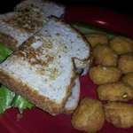 cowtipper sandwich and sweet corn balls