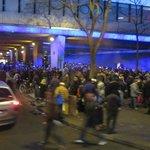 Homeless gathering outside hotel