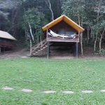 Upper casitas.  Dining hut to left, Bath house at far right