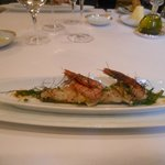 Couteau de Galice nacré au beurre d'algues, crevette de Palamos (avec des ormeaux)