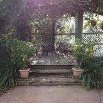 Beautiful sitting area in garden.
