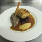 Belly pork with black pudding mash