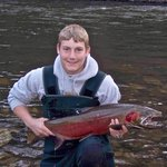 Fishing behind lodge on the Little Salmon River
