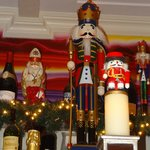 Nutcrackers added to the cheerful Christmas ambiance.