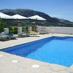 the beautiful heated pool with stunning mountain views