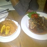 Jollof rice,plantain and mixed grill