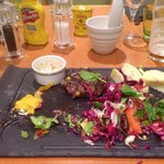 Steak / mash / salad (£17). Houseslaw (coleslaw no mayo £2) and a small bland Stilton dip (£1.50