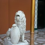 One of the lion statues at the front entrance