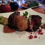 Ribier Restaurant: Grilled Venison filet w Kumara croquet, kumara Brule, garlic puree