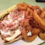 Chicken Parm Sandwich with Onion Rings