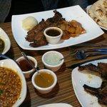 Beef steak, lamb chops, naan, daal and palak paneer!