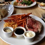 Prime Ribs, sweet potatoes fries and lobster-shrimp salad