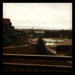 View from room 301 of the outdoor waterpark area and the indoor waterslides