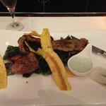 Hangar steak with plantain crisps