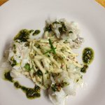 Fresh cold poached cod salad