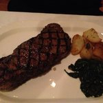 New york strip, potatoes, spinach