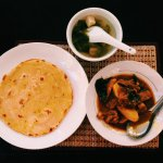 Roti Parata and mutton/potato curry with tofu soup.