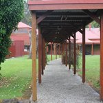Walkway from cabins to dining and recreation areas