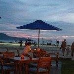 beach bar at sunset