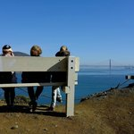 A roadside bench offering a great view of Golden Gate Bridge